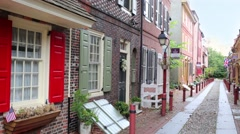 The oldest street in America Elfreth Alley in Philadelphia Stock Footage
