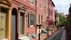 Brick houses in the oldest street tin America - Elfreth Alley Stock Footage