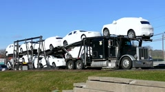 New cars, auto transporter trailer truck - stock footage