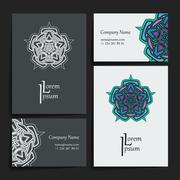 Set of vector design templates. Business card with floral circle ornament - stock illustration