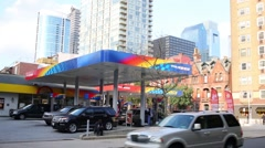 Sunoco Gas Station at Walnut Street at sunny day. Stock Footage