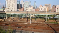 City landscape with road, railways and skyscrapers in Philadelphia Arkistovideo