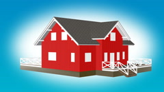 Construction planning small red house Animation Stock Footage
