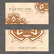 Set of vector design templates. Business card with floral circle ornament Stock Illustration