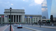 Building of 30th Street Station and modern office building Stock Footage