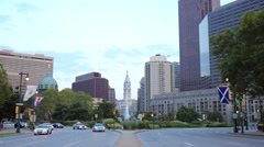 View from the Benjamin Franklin Parkway at Swann Memorial Fountain Stock Footage