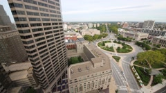 Benjamin Franklin Parkway, a large office building and Logan Square Stock Footage