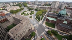 Cathedral Basilica of St. Peter and Paul and Logan Square, above view Stock Footage