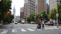 Pedestrian crossing of the Benjamin Franklin Parkway. - stock footage
