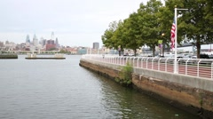 Cityscape Philadelphia and the Delaware River Embankment Stock Footage