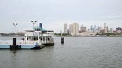 The ferry at the pier on the Delaware River in Camden. Stock Footage