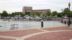 Wiggins Park and Marina and building of Susquehanna Bank Center Stock Footage