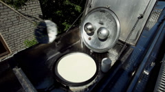 Transportation of milk in the milk tanker. - stock footage