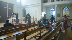 The shot movie scene inside the church. Time lapse. Wide angle Stock Footage