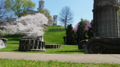 Nashville Ruins at the Capitol with Spring Flowering Trees Stock Footage