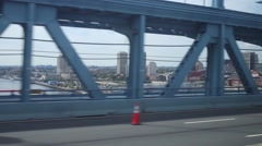 View of the city from moving car through the construction of Bridge Stock Footage