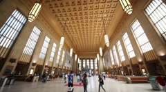 Spacious hall of 30th Street Station in Philadelphia Stock Footage