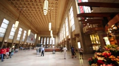 Passengers at 30th Street Station in Philadelphia Stock Footage