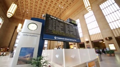 Information table in 30th Street Station in Philadelphia Stock Footage