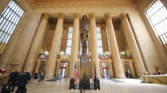Interior view of 30th Street Station, AMTRAK Train Station. Stock Footage