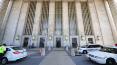 Facade of a building of 30th Street Station in Philadelphia Stock Footage