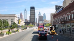 View from Market Street to downtown in Philadelphia Stock Footage