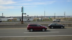 View from New Jersey Turnpike to Newark Liberty Airport Marriott Stock Footage