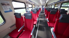 Interior of an empty wagon of Aeroexpress train. Stock Footage