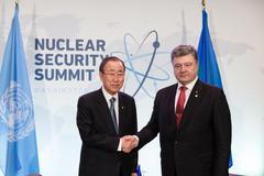 Petro Poroshenko and Ban Ki-moon Stock Photos