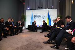 Petro Poroshenko and Ban Ki-moon - stock photo