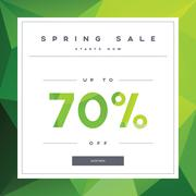 Spring sale banner on green low poly background with elegant typography for - stock illustration