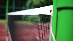 Net for badminton in the open sports court, close-up view Stock Footage