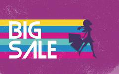 Big sale poster with woman shopping for fashion clothes. 80s vector background - stock illustration