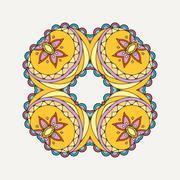 Stock Illustration of Vector mandala. Mehndi lace tattoo. Oriental weave with sharp corners