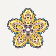 Vector mandala. Mehndi lace tattoo. Oriental weave with sharp corners Stock Illustration