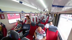 People sit in the Aeroexpress train in Moscow Stock Footage