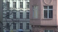View of Prague Art Nouveau Architecture through a Window Pan Left Stock Footage