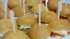 Dozens of Cheap Burgers at a Public Event - stock footage