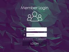 Login form menu with simple line icons. Low poly background. Website element for Stock Illustration