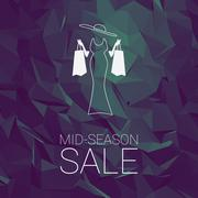 Stock Illustration of Sales banner mid season template with woman shopping fashion, space for