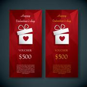 Valentine's day gift card voucher template present and space for your text. Red - stock illustration
