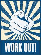 New year resolution motivation poster to work out and do exercise, fitness - stock illustration