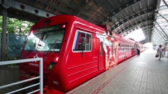 Aeroexpress train stands on a platform of Domodedovo Airport. Stock Footage