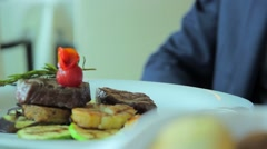 Eating Meat steak -Dinner in a restaurant - Close up Stock Footage