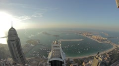 Palm view  from the roof in Dubai city - Fish Eye 2 Stock Footage