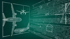 Airplane - Blueprint Coming to life - green 02 Stock Footage