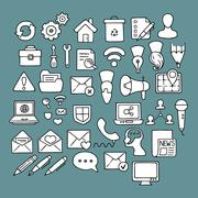 Set of doodle web, computer and drawing icons - stock illustration