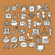 Stock Illustration of Set of doodle web, computer and drawing icons
