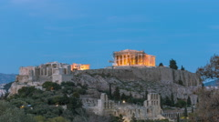 Rock of Acropolis/Parthenon wide view day to night time lapse Stock Footage
