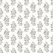 Seamless pattern of cute cat characters. Pet in love Piirros